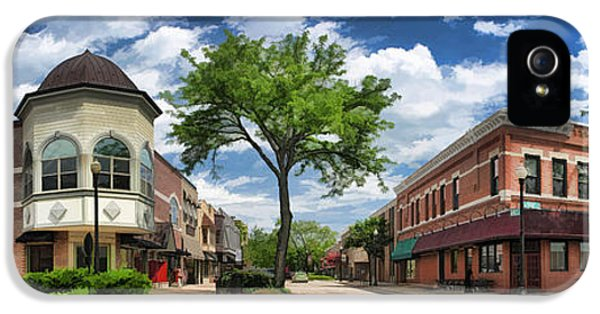 Main Street iPhone 5 Cases - Wheaton Front Street Panorama iPhone 5 Case by Christopher Arndt