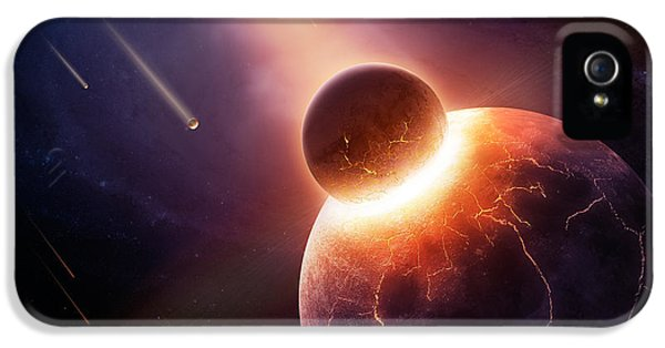 Burnt iPhone 5 Cases - When planets collide iPhone 5 Case by Johan Swanepoel