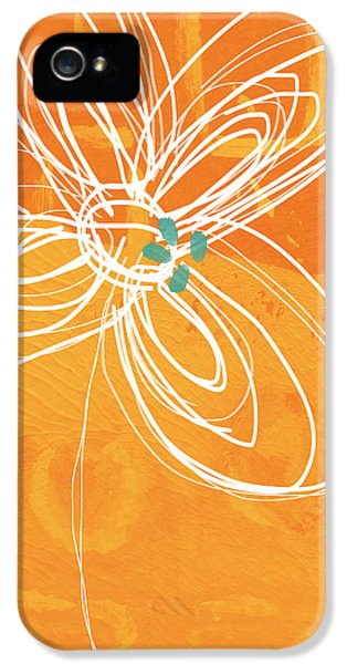Orange iPhone 5 Cases - White Flower on Orange iPhone 5 Case by Linda Woods