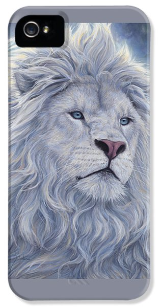 Lion iPhone 5 Cases - White Lion iPhone 5 Case by Lucie Bilodeau