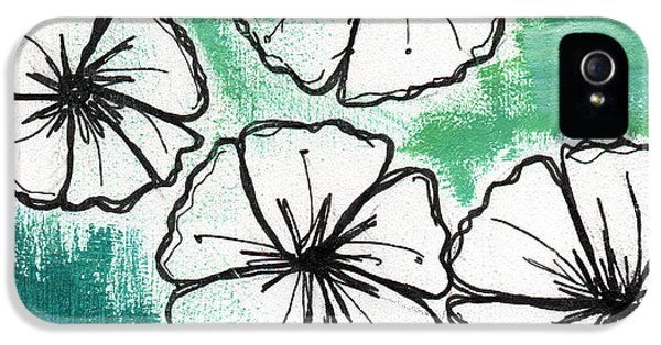 Sketch iPhone 5 Cases - White Petunias- Floral Abstract Painting iPhone 5 Case by Linda Woods