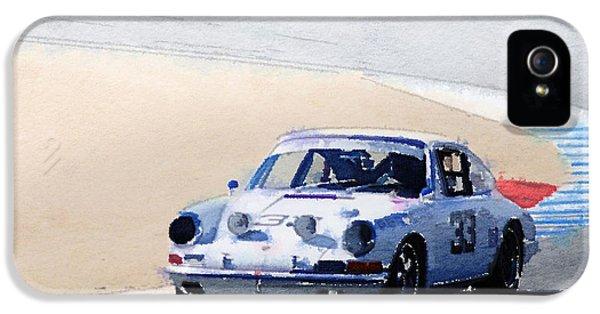 Porsche 911 iPhone 5 Cases - White Porsche 911 in Monterey Watercolor iPhone 5 Case by Naxart Studio