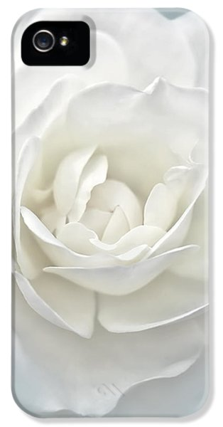 Ivory Flower iPhone 5 Cases - White Rose Flower Silver Blue iPhone 5 Case by Jennie Marie Schell