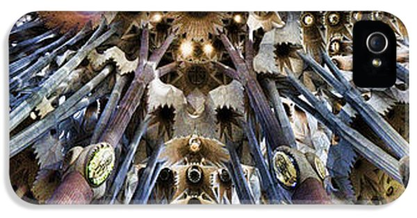 Pillar iPhone 5 Cases - Wide Panorama of the interior Ceiling of Sagrada Familia in Barcelona iPhone 5 Case by David Smith