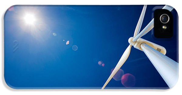 Wind iPhone 5 Cases - Wind Turbine and sun  iPhone 5 Case by Johan Swanepoel