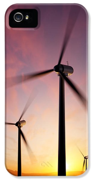 Wind iPhone 5 Cases - Wind Turbine blades spinning at sunset iPhone 5 Case by Johan Swanepoel
