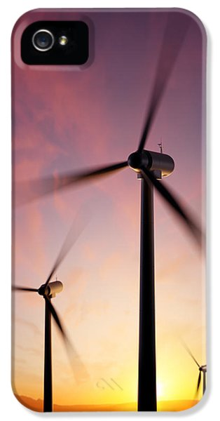 Electrical Equipment iPhone 5 Cases - Wind Turbine blades spinning at sunset iPhone 5 Case by Johan Swanepoel