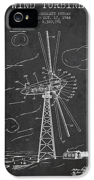Wind iPhone 5 Cases - Wind Turbine Patent from 1944 - Dark iPhone 5 Case by Aged Pixel