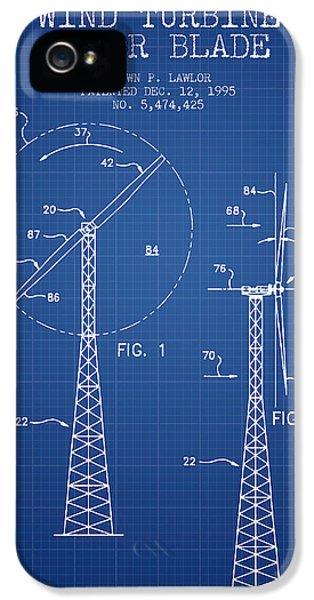 Wind iPhone 5 Cases - Wind Turbine Rotor Blade Patent from 1995 - Blueprint iPhone 5 Case by Aged Pixel