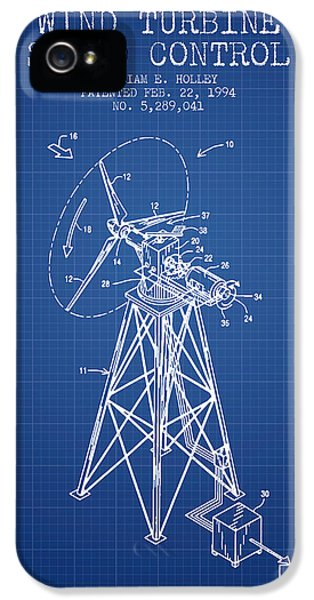 Wind iPhone 5 Cases - Wind Turbine Speed Control Patent from 1994 - Blueprint iPhone 5 Case by Aged Pixel