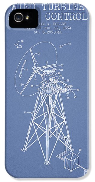 Wind iPhone 5 Cases - Wind Turbine Speed Control Patent from 1994 - Light Blue iPhone 5 Case by Aged Pixel