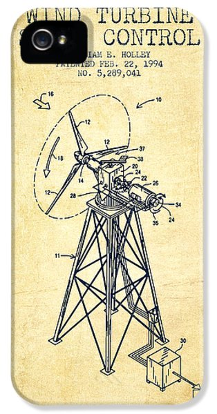 Wind iPhone 5 Cases - Wind Turbine Speed Control Patent from 1994 - Vintage iPhone 5 Case by Aged Pixel