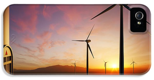 Wind iPhone 5 Cases - Wind Turbines at sunset iPhone 5 Case by Johan Swanepoel