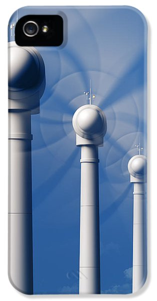 Electrical Equipment iPhone 5 Cases - Wind Turbines in motion from the front iPhone 5 Case by Johan Swanepoel