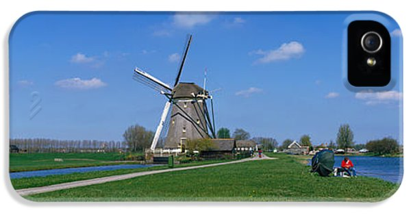 Fuel And Power Generation iPhone 5 Cases - Windmill And Canals Near Leiden The iPhone 5 Case by Panoramic Images
