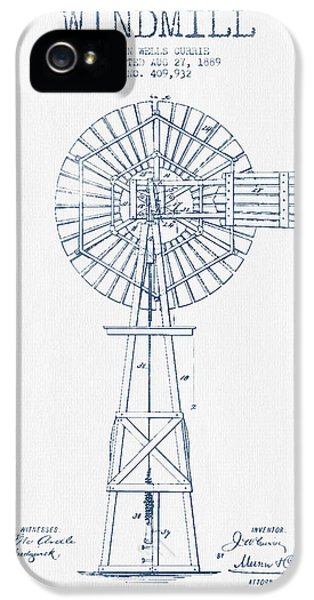 Windmill iPhone 5 Cases - Windmill Patent Drawing From 1889 - Blue Ink iPhone 5 Case by Aged Pixel