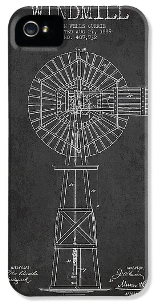 Windmill iPhone 5 Cases - Windmill Patent Drawing From 1889 - Dark iPhone 5 Case by Aged Pixel