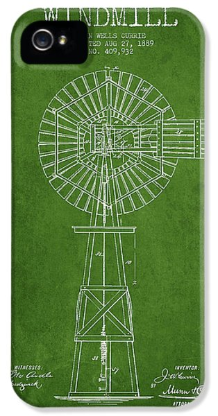 Windmill iPhone 5 Cases - Windmill Patent Drawing From 1889 - Green iPhone 5 Case by Aged Pixel