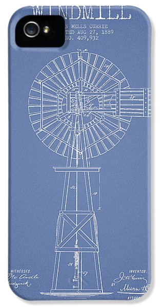 Windmill iPhone 5 Cases - Windmill Patent Drawing From 1889 - Light Blue iPhone 5 Case by Aged Pixel
