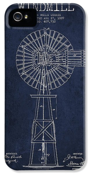 Windmill iPhone 5 Cases - Windmill Patent Drawing From 1889 - Navy Blue iPhone 5 Case by Aged Pixel