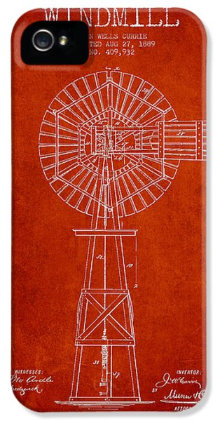 Windmill iPhone 5 Cases - Windmill Patent Drawing From 1889 - Red iPhone 5 Case by Aged Pixel