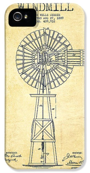 Windmill iPhone 5 Cases - Windmill Patent Drawing From 1889 - Vintage iPhone 5 Case by Aged Pixel