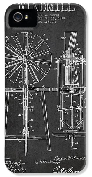 Windmill iPhone 5 Cases - Windmill Patent Drawing From 1899 - Dark iPhone 5 Case by Aged Pixel