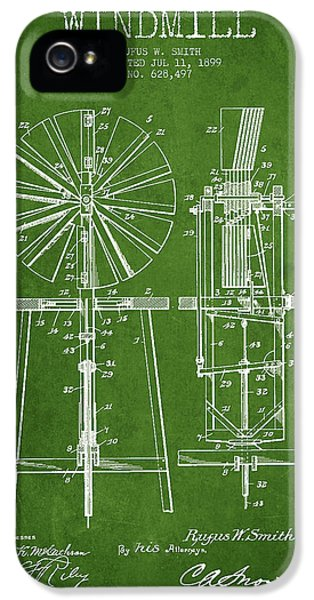 Windmill iPhone 5 Cases - Windmill Patent Drawing From 1899 - Green iPhone 5 Case by Aged Pixel