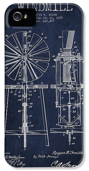 Windmill iPhone 5 Cases - Windmill Patent Drawing From 1899 - Navy Blue iPhone 5 Case by Aged Pixel