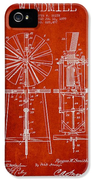 Windmill iPhone 5 Cases - Windmill Patent Drawing From 1899 - Red iPhone 5 Case by Aged Pixel