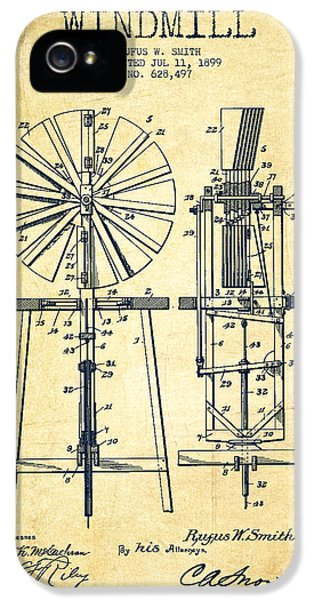 Windmill iPhone 5 Cases - Windmill Patent Drawing From 1899 - Vintage iPhone 5 Case by Aged Pixel
