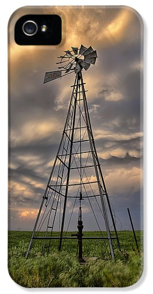 Windmill iPhone 5 Cases - Windmill Storm iPhone 5 Case by Thomas Zimmerman