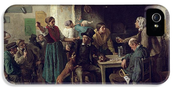 Husband iPhone 5 Cases - Wine Shop Monday, 1858 Oil On Canvas iPhone 5 Case by Jules Breton