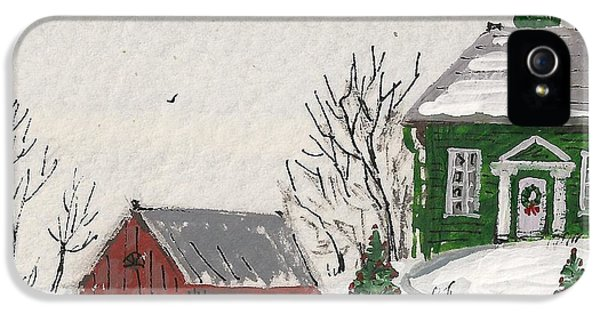 Hanukkah Card iPhone 5 Cases - Winter Farm House iPhone 5 Case by Margaryta Yermolayeva