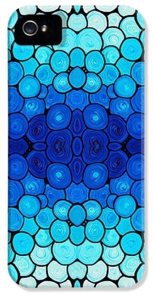 Striking iPhone 5 Cases - Winter Lights - Blue Mosaic Art By Sharon Cummings iPhone 5 Case by Sharon Cummings