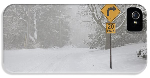 Condition iPhone 5 Cases - Winter road with yellow sign iPhone 5 Case by Elena Elisseeva