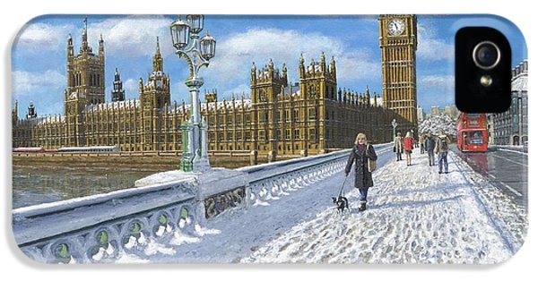 City Scene iPhone 5 Cases - Winter Sun - Houses of Parliament London iPhone 5 Case by Richard Harpum