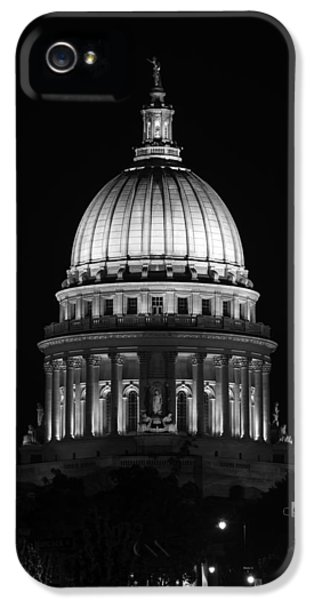 Hdr iPhone 5 Cases - Wisconsin State Capitol Building at Night Black and White iPhone 5 Case by Sebastian Musial