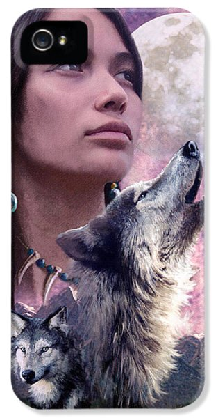 Native American Woman iPhone 5 Cases - Wolf Montage iPhone 5 Case by Garry Walton