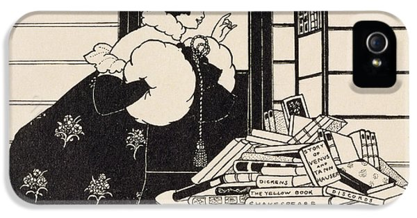 Woman In A Bookshop IPhone 5 / 5s Case by Aubrey Beardsley