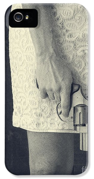 Control iPhone 5 Cases - Woman with Revolver iPhone 5 Case by Edward Fielding