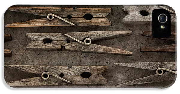 Washed iPhone 5 Cases - Wooden Clothespins iPhone 5 Case by Priska Wettstein