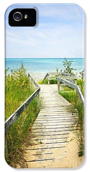 Summertime iPhone 5 Cases - Wooden walkway over dunes at beach iPhone 5 Case by Elena Elisseeva