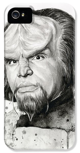 Sci Fi Art iPhone 5 Cases - Worf Portrait Watercolor Star Trek Art iPhone 5 Case by Olga Shvartsur