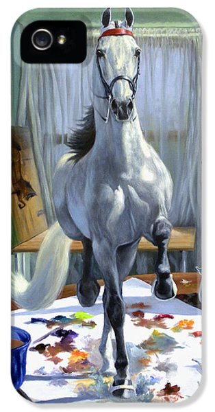 Horse iPhone 5 Cases - Work In Progress V iPhone 5 Case by Jeanne Newton Schoborg