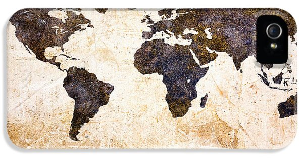 Earth iPhone 5 Cases - World Map Abstract iPhone 5 Case by Bob Orsillo