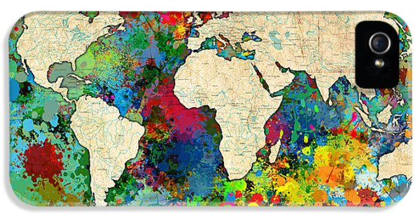 Atlas iPhone 5 Cases - World Map Colorful iPhone 5 Case by Gary Grayson