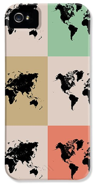 Wise iPhone 5 Cases - World Map Grid Poster 2 iPhone 5 Case by Naxart Studio