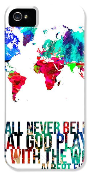 Atlas iPhone 5 Cases - World Map with a Quote 4 iPhone 5 Case by Naxart Studio