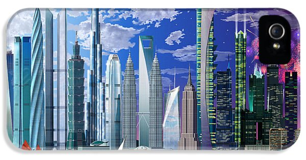Firework iPhone 5 Cases - Worlds Tallest Buildings iPhone 5 Case by Garry Walton